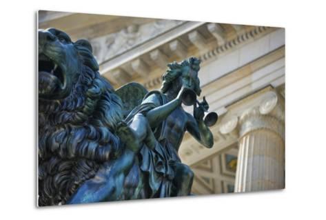 Detail of Statue of a Piper Riding a Lion outside the Konzerthaus-Jon Hicks-Metal Print