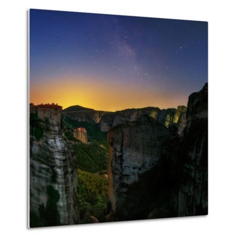 The Night Sky Above the Monasteries at the World Heritage Site of Meteora-Babak Tafreshi-Metal Print