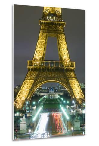 Traffic on Champs D'Elysees under Eiffel Tower at Night, Paris,France-Design Pics Inc-Metal Print