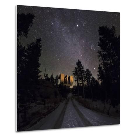 Winter Stars, Including Jupiter, and the Milky Way over the Large Binocular Telescope-Babak Tafreshi-Metal Print