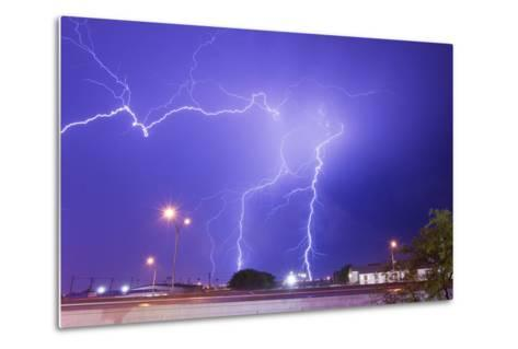 Multiple Lightning Bolts Stike from an Intense Lightning Thunderstorm-Mike Theiss-Metal Print