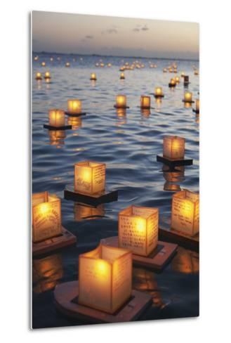 Annual Lantern Floating Ceremony During Sunset at Ala Moana; Oahu, Hawaii, United States of America-Design Pics Inc-Metal Print