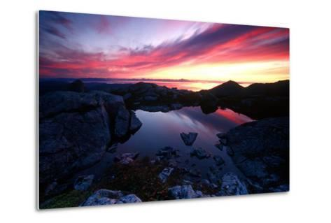 Sunrise over Pond Short Arm Peak Prince of Wales Is Ak Se Summer-Design Pics Inc-Metal Print