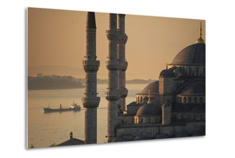 Ship Sailing Along the Bosphorus Behind the Sultanahmet or Blue Mosque at Dawn-Design Pics Inc-Metal Print
