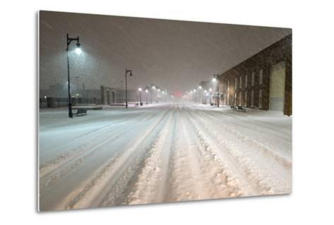 A Snowstorm Strikes a City in the Middle of the Night-Jim Reed-Metal Print