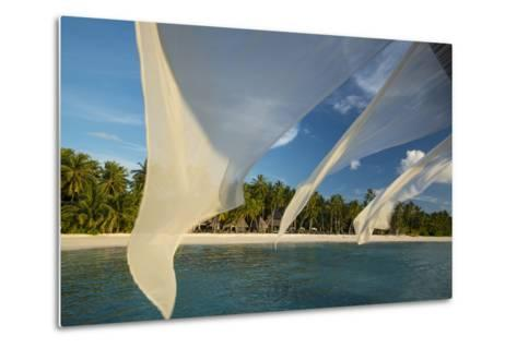 Diaphanous Curtains Flapping in the Breeze at a Resort in the Maldives-Michael Melford-Metal Print