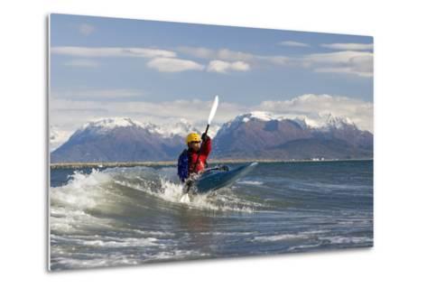 Man Kayak Surfing Waves on Katchemak Bay Near Homer Kenai Peninsula Alaska Autumn-Design Pics Inc-Metal Print