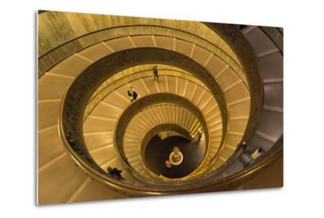 Spiral Stairs of the Vatican Museums, Designed by Giuseppe Momo in 1932, Rome, Lazio, Italy, Europe-Carlo Morucchio-Metal Print