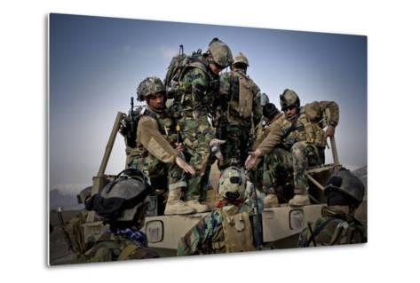 Afghan Soldiers Give a Hand Up to a Fellow Soldier--Metal Print