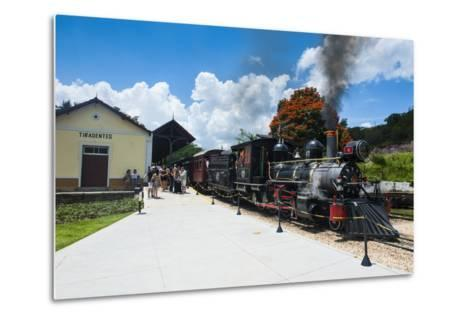 Historical Steam Train Maria Fuma §A in Tiradentes, Minas Gerais, Brazil, South America-Michael Runkel-Metal Print