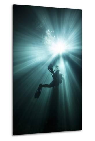 A Scuba Diver Ascends into the Light Emanating Above--Metal Print