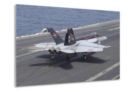 An F-A-18E Super Hornet Lands on the Flight Deck of USS Nimitz--Metal Print