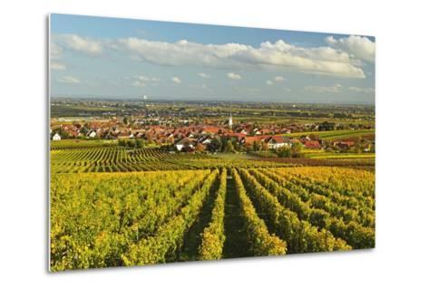 Vineyard Landscape and Maikammer Village, German Wine Route, Rhineland-Palatinate, Germany, Europe-Jochen Schlenker-Metal Print