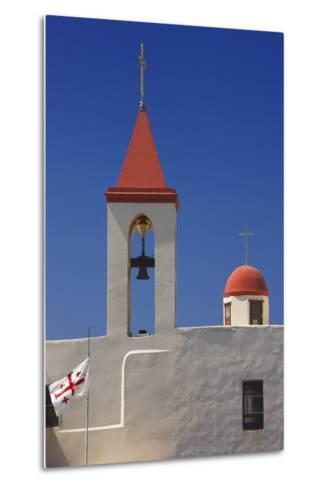 Flag of the Knights Templar at St. John's Church in Akko-Jon Hicks-Metal Print