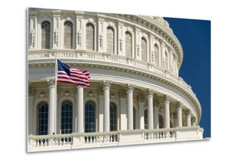 Close Up of the Capitol Building-John Woodworth-Metal Print