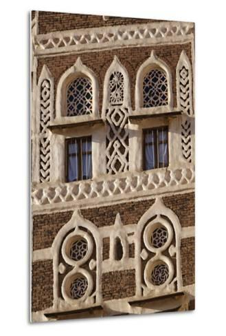 Architectural Detail, Old City of Sanaa, UNESCO World Heritage Site, Yemen, Middle East-Bruno Morandi-Metal Print
