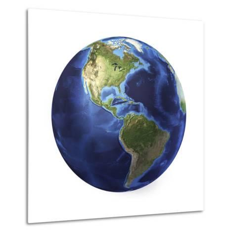 3D Rendering of Planet Earth, Centered on North America and South America--Metal Print