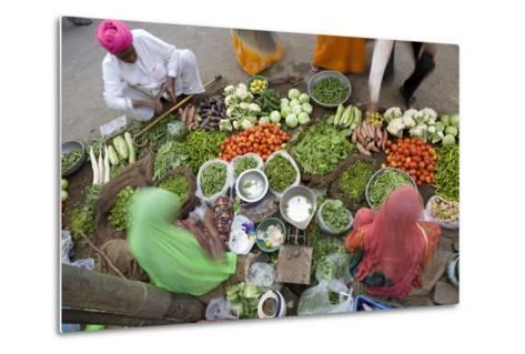 Vegetable Market, Jaisalmer, Western Rajasthan, India, Asia-Doug Pearson-Metal Print