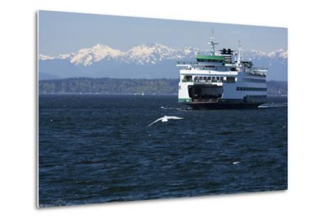 Ferry approaching Colman Dock on Elliott Bay, Seattle, Washington, USA-Jamie & Judy Wild-Metal Print