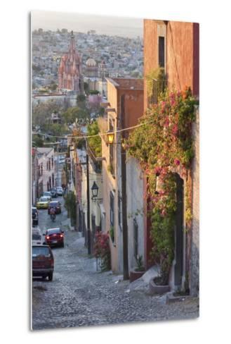 Mexico, San Miguel de Allende. Street scene with overview of city.-Don Paulson-Metal Print