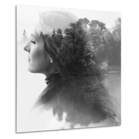 Double Exposure of Young Female and the Forest near the Lake(Tilt-Shift Lens)-Kuzma-Metal Print