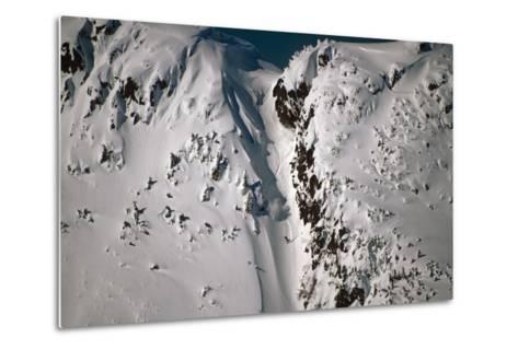 Person Snowboarding Down Chute at Eaglecrest Ski Resort Douglas Isl Near Juneau Alaska Se Winter-Design Pics Inc-Metal Print