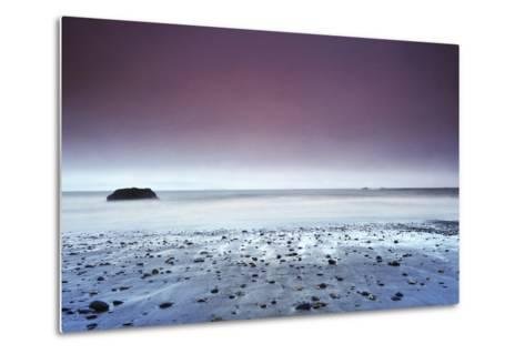 Sunset at Ruby Beach with Rock, Olympic National Park, Washington-Keith Ladzinski-Metal Print