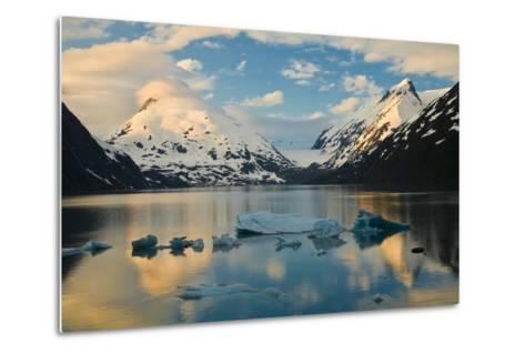 Scenic View of Dawn over Portage Lake with Icebergs in the Foreground, Southcentral Alaska-Design Pics Inc-Metal Print