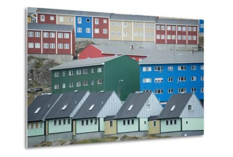 Buildings in Sisimiut Looking Like Stacked Up Toys-Michael Melford-Metal Print