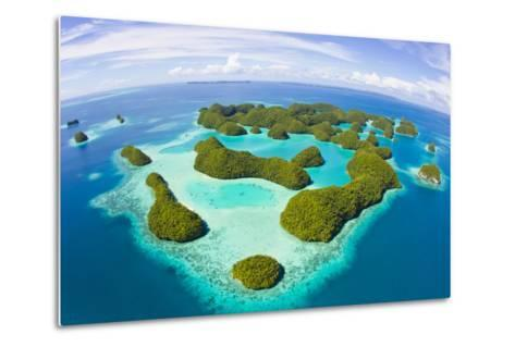 An Aerial Fisheye Lens View of Palau's Rock Islands in the Turquoise Waters of the Pacific Ocean-Mike Theiss-Metal Print