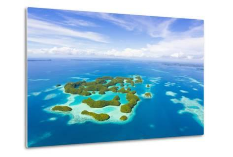 An Aerial View of Palau's Rock Islands in the Turquoise Waters of the Pacific Ocean-Mike Theiss-Metal Print