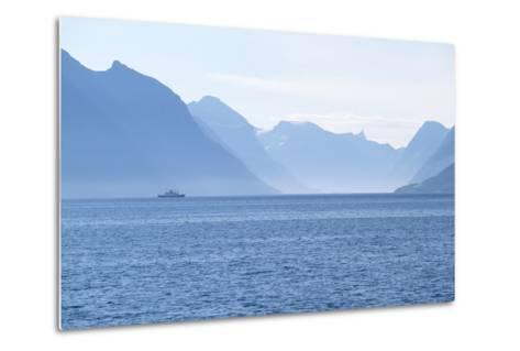 Ship and Mountains along the Austefjord, Norway-Paul Souders-Metal Print