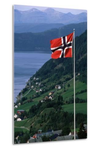 Norwegian Flag Flies above Valley-Paul Souders-Metal Print