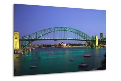 Sydney Harbour Bridge at Dusk with Opera House Behind-Design Pics Inc-Metal Print
