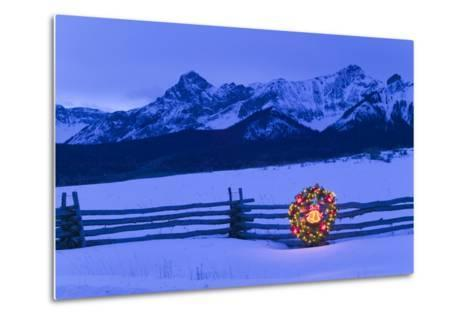 Split Rail Fence Decorated with Wreath and Christmas Tree Colorado Winter-Design Pics Inc-Metal Print