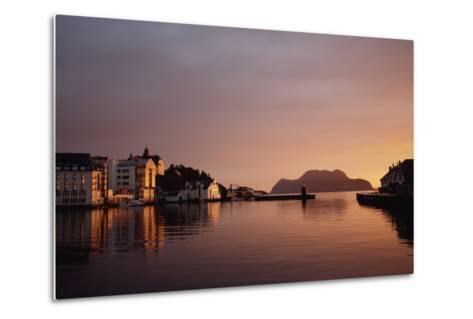 Skyline of Town at Dusk-Design Pics Inc-Metal Print