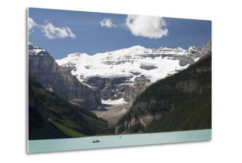 Mount Victoria and Lake Louise with Canoes-Design Pics Inc-Metal Print