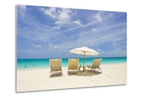 Empty Beach Chairs in the Sand on a Tropical Beach in the Caribbean-Mike Theiss-Metal Print