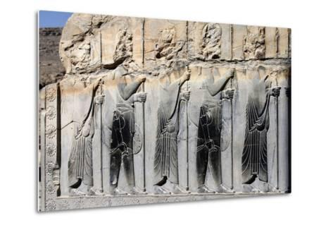Bas-Relief of Persian Guards on a Wall in Persepolis-Babak Tafreshi-Metal Print