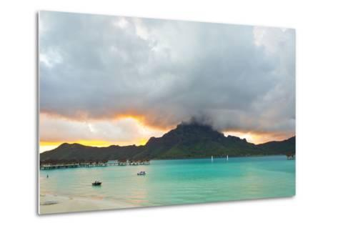 A Cloudy Sunset over Mount Otemanu and the Pacific Ocean-Mike Theiss-Metal Print