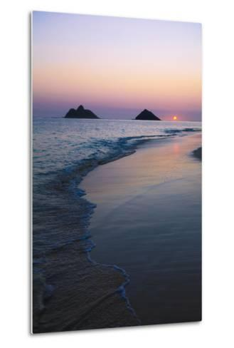 Hawaii, Oahu, Kailua, Lanikai, Sun Sinking Below Horizon on Beach-Design Pics Inc-Metal Print