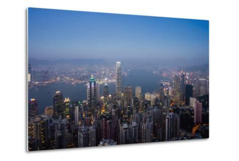 Cityscape with Harbour at Dusk-Design Pics Inc-Metal Print
