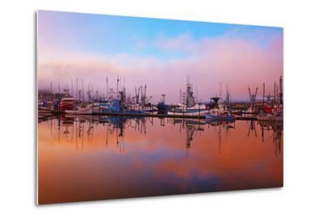 Sunrise Through the Morning Fog and Fishing Boats-Design Pics Inc-Metal Print