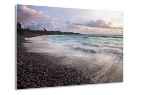 Hawaii, Maui, Hana, Dramatic Seascape of Hana's Black Sand Beach-Design Pics Inc-Metal Print