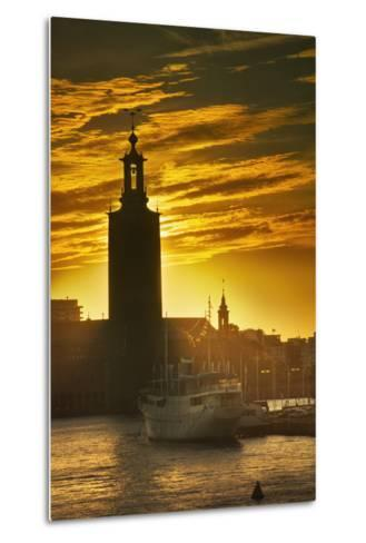 Sunset behind Stadshuset Bell Tower in Stockholm-Jon Hicks-Metal Print
