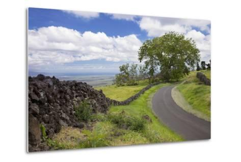 Hawaii, Maui, Kula, a Stone Wall Lines a Country Road with Views of Maui in the Background-Design Pics Inc-Metal Print