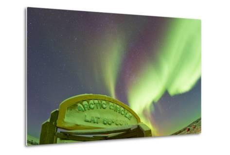 An Aurora Borealis at the Famous Arctic Circle Sign-Mike Theiss-Metal Print