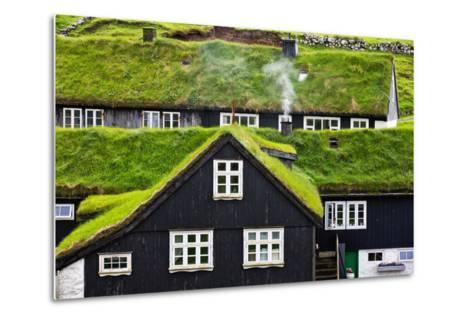 Grass Covered Rooftops on Traditional Faroese Houses-Karine Aigner-Metal Print