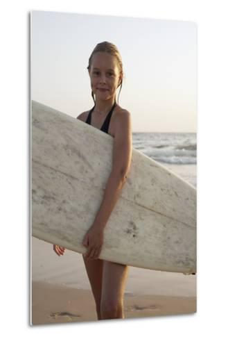 Young Girl with Surfboard-Design Pics Inc-Metal Print