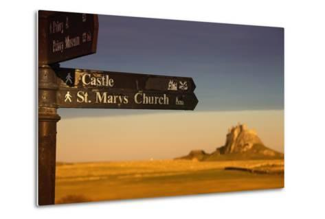 A Sign Post Pointing to a Castle and St. Marys Church on the Tidal Island-Design Pics Inc-Metal Print